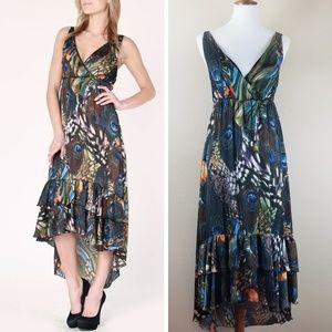 Romeo & Juliet Couture Hi-Low Ruffle Peacock Dress